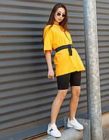Комплект женская горчичная футболка оверсайз модель Квил (Quill)+ чёрные велосипедки + ремень размер  S, M, L, фото 1