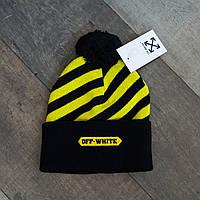Зимняя шапка черная с бубоном унисекс Off-White