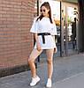 Комплект женская белая футболка оверсайз модель Квил (Quill)+ бежевые велосипедки + ремень размер  S, M, L