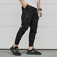 Зауженные карго штаны черные мужские с липучками от бренда ТУР Симбиот (Symbiote) размер S, M, L, XL, XXL, фото 1