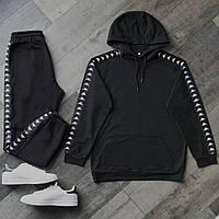 Спортивный костюм мужской черный сезон весна/лето (весенний) в стиле Kappa (Каппа)