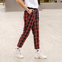 Штаны женские клетчатые (красная клетка шотландка) от бренда ТУР Гидди размер XS, S, M, L, XL, фото 1