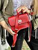 Сумка мессенджер женская  маленькая на длинном ремешке с цепочкой из экокожи красная