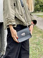 Сумка мессенджер женская  маленькая на длинном ремешке с цепочкой из экокожи черная