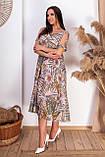 Ошатне літнє плаття з відкритими плечима з натуральної тканини на підкладці великих розмірів 50,52,54,56, фото 2
