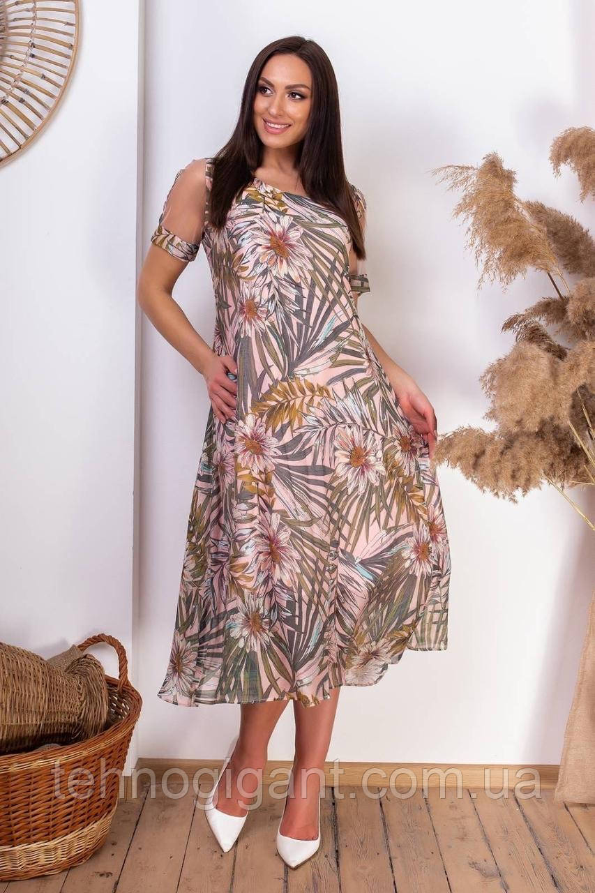 Ошатне літнє плаття з відкритими плечима з натуральної тканини на підкладці великих розмірів 50,52,54,56