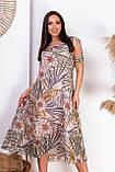 Ошатне літнє плаття з відкритими плечима з натуральної тканини на підкладці великих розмірів 50,52,54,56, фото 3