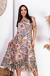 Нарядное летнее платье с открытыми плечами из натуральной ткани на подкладке больших размеров 50,52,54,56, фото 3