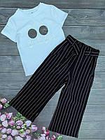 """Подростковый костюм для девочки кюлоты с футболкой в полоску""""Beach Bum"""" 8-12 лет, черного цвета"""