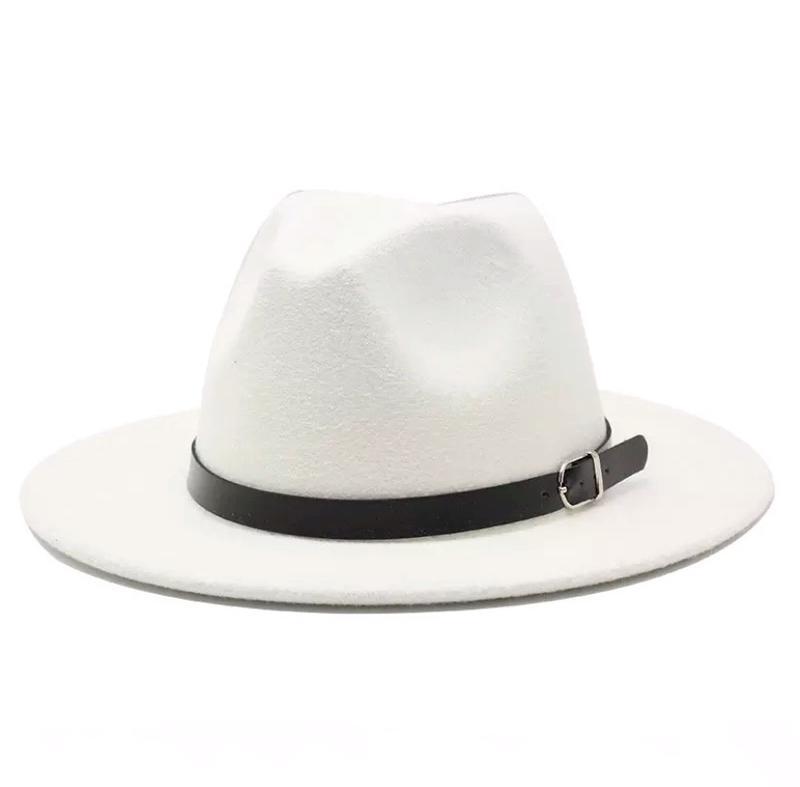 Стильная шляпа федора белая с широкими полями классическая трендовая фетровая