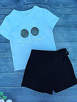 """Подростковый костюм для девочки шорты-юбка с футболкой""""Beach Bum"""" 8-12 лет, черного цвета"""