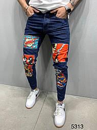 Джинсы - мужские синие джинсы с рисунком хлопок