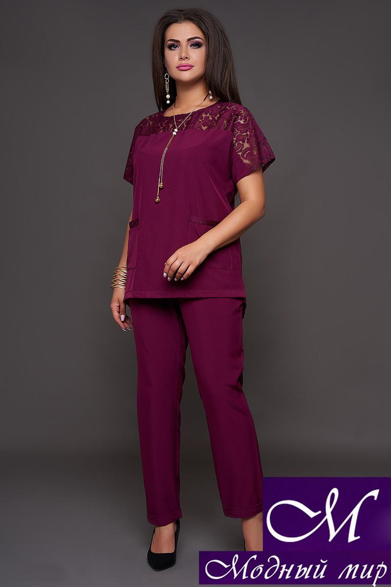 Женский нарядный брючный костюм бордовый (р. 50-52, 54-56, 58-60) арт. 30-590