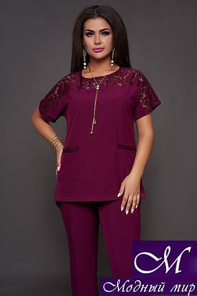Женский нарядный брючный костюм бордовый (р. 50-52, 54-56, 58-60) арт. 30-590, фото 2