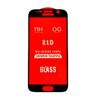 Защитное стекло 21D Full Glue для Samsung S7 (G930) черное 0,3 мм в упаковке