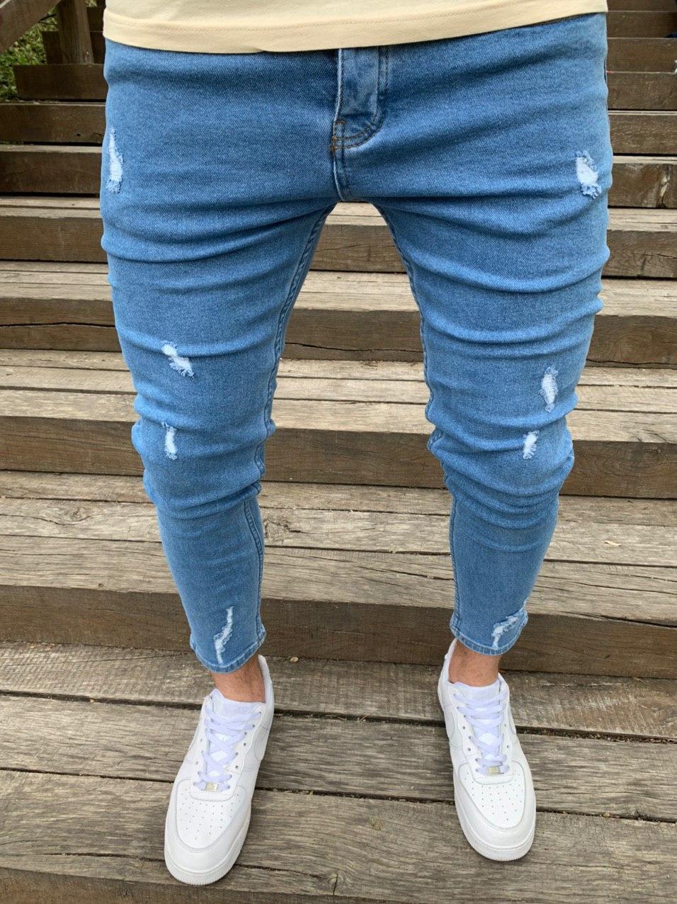 Джинси - Чоловічі блакитні джинси завужені