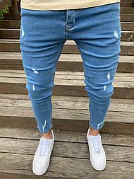 Джинсы - Мужские голубые джинсы зауженные
