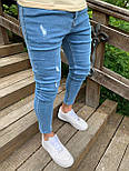 Джинси - Чоловічі блакитні джинси завужені, фото 2