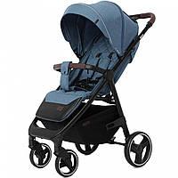 Детская прогулочная коляска синяя Carrello Bravo черная рама утепленный чехол на ножки подстаканник дождевик
