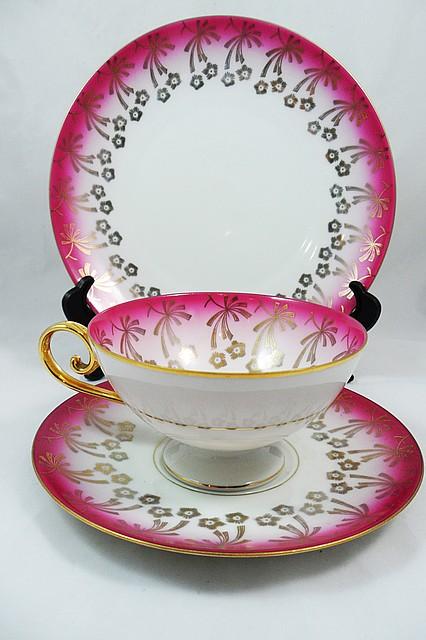 Чашка, блюдце, тарелка, чайное трио, Германия, фарфор 7