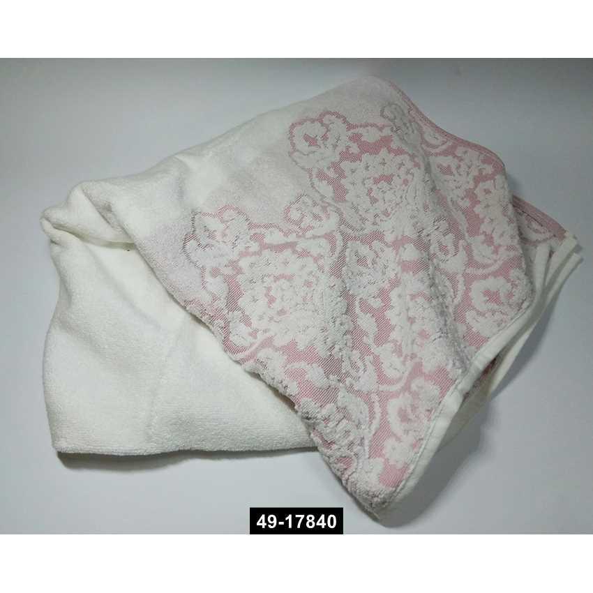 Полотенце жаккард Узор розовое, 49-17840