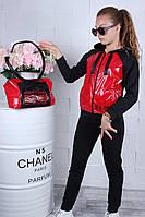 Спортивный костюм подростковый для девочки с сумкой 9-14 лет, красного цвета