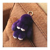 Брелок на сумку рюкзак Меховой брелок Кролик цвет Фиолетовый 16см