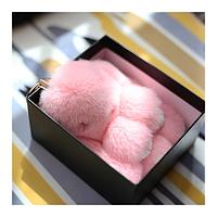 Брелок на сумку рюкзак Меховой брелок Кролик цвет Нежно Розовый 16см