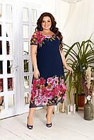 Нарядное летнее шифоновое платье с цветочным принтом больших размеров 50,52,54,56, Синее