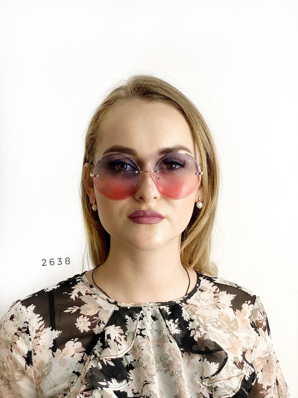 Круглые солнцезащитные очки   розово - голубые