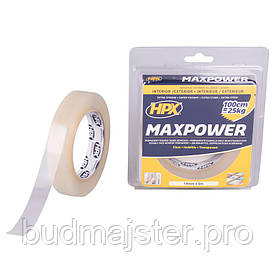 Стрічка двохстороння прозора  HPX MAXPOWER 19мм х 5м (блістер)