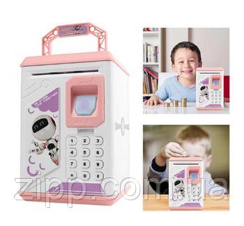 Детский сейф-копилка с отпечатком пальца HBB Robot Bodyguard New Pro Розовый