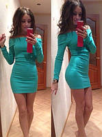 Стильное трикотажное платье мини с открытыми плечами, с 40 по 46рр