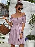 Женское пудровое платье из прошвы