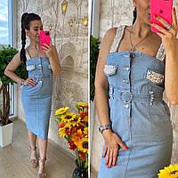 Сарафан джинсовый стильный, женский, голубой, 211-0637