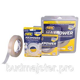Стрічка двохстороння прозора  HPX MAXPOWER 19мм х 2м (блістер)