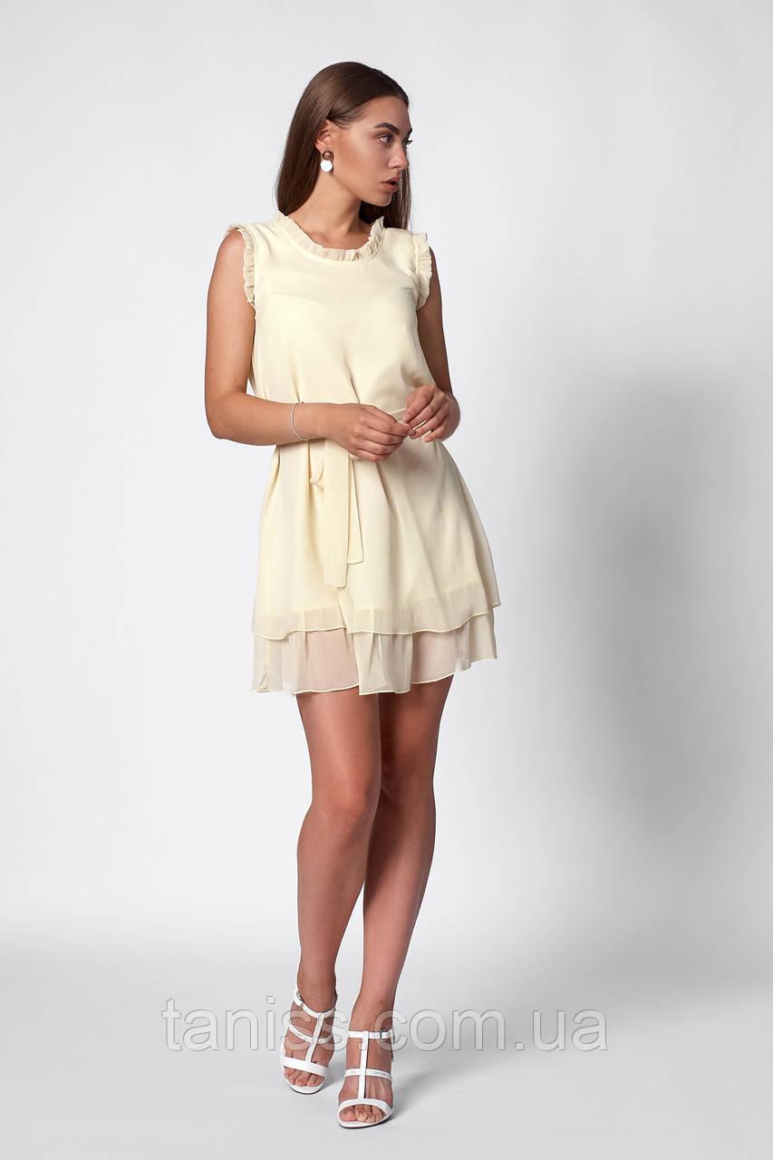 Легкое летнее  платье, ткань шифон плиссе ,размеры 42,44,46,48 ( 1260.3)  желтый сукня