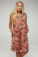 Яркий летний костюм шорты+майка Кораллового цвета большого размера от 50 до 58