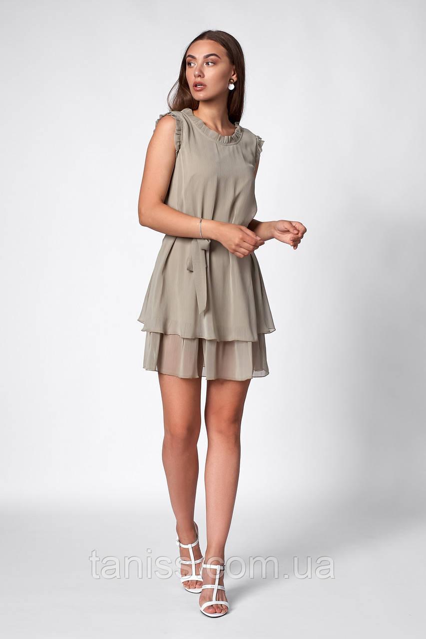 Легкое летнее  платье, ткань шифон плиссе ,размеры 42,46,48 ( 1260,2)  оливковый, сукня
