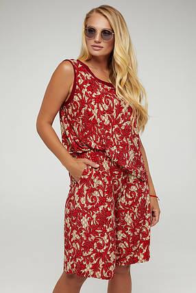 Яркий летний костюм шорты+майка бордового цвета большого размера от 50 до 58, фото 2