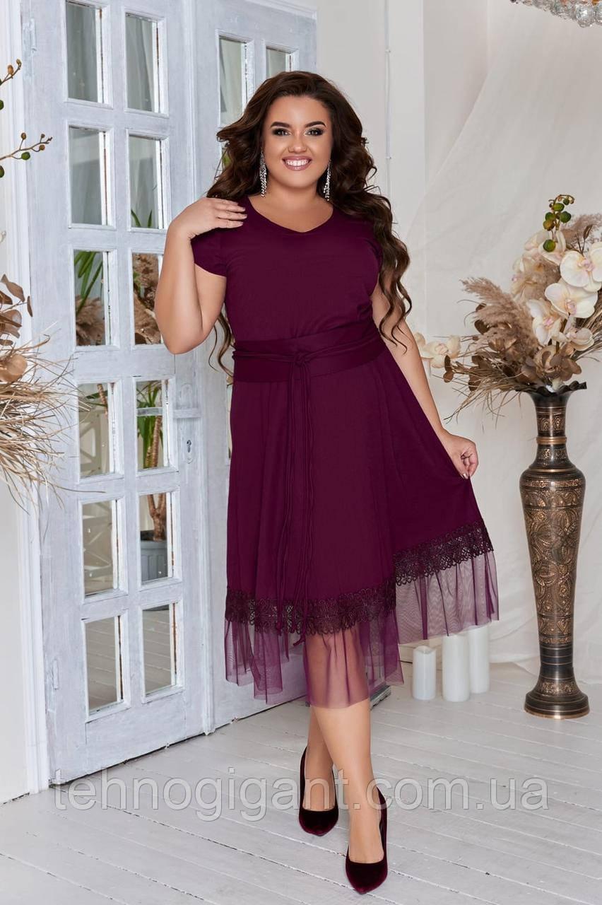 Нарядное летнее платье большого размера с поясом 50,52,54,56, платье на подкладке, Марсала