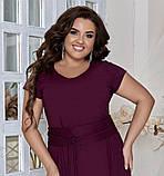 Нарядное летнее платье большого размера с поясом 50,52,54,56, платье на подкладке, Марсала, фото 3