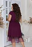 Нарядное летнее платье большого размера с поясом 50,52,54,56, платье на подкладке, Марсала, фото 5