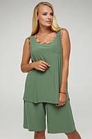 Яркий летний костюм шорты+майка Оливкового цвета большого размера от 50 до 58