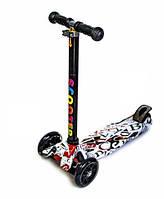 Детский трехколесный самокат Scooter MAXI со светящимися колесами и рисунком, ABC