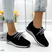 Стильные черные женские кроссовки в классическом исполнении из натуральной замши, фото 1