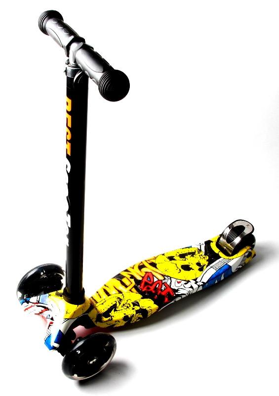 Детский трехколесный самокат Scooter MAXI со светящимися колесами и рисунком, Joker