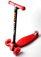 Детский трехколесный самокат Scooter MAXI со светящимися колесами, Red, фото 1