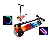 Детский трехколесный самокат Scooter MAXI со складным рулем, светящимися колесами и рисунком, Fire & ACE, фото 1