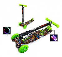 Детский трехколесный самокат Scooter MAXI со складным рулем, светящимися колесами и рисунком, Monstres, фото 1